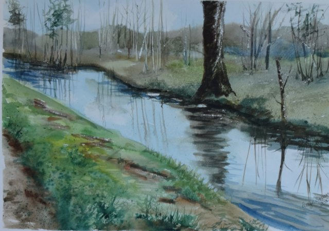Pintura Original Em Aquarela - Paisagem De Inverno 39x27 cm - Tela/Quadro Para Decoração Da Sua Casa