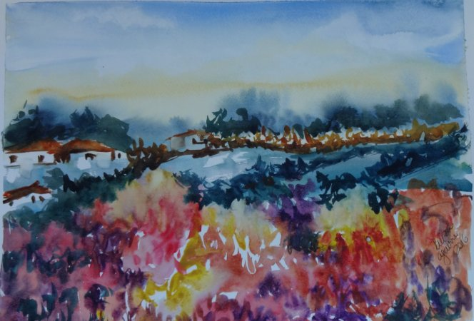 Pintura Original Em Aquarela Campo Repleto de Flores I 39x27cm - Tela/Quadro Para Decoração Da Sua Casa