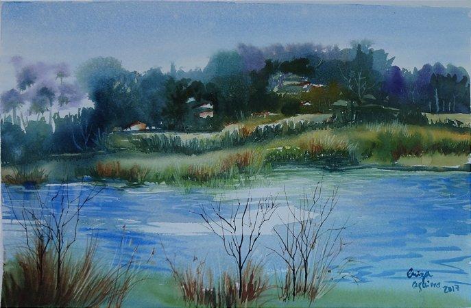 Pintura Original Em Aquarela - Lago-Paisagem IV 42x27 cm - Tela/Quadro Para Decoração Da Sua Casa