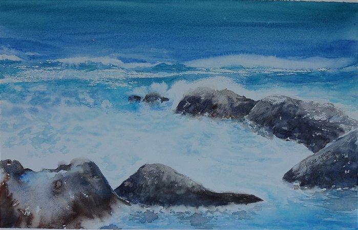 Pintura Original Em Aquarela - Paisagem De Mar Com Rochas 40x26 cm - Tela/Quadro Para Decoração Da Sua Casa
