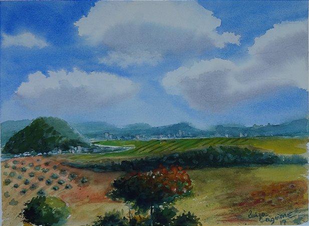 Pintura Original Em Aquarela Uma paisagem 36x26cm - Tela/Quadro Para Decoração Da Sua Casa