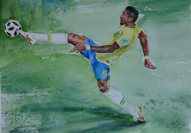 Pintura Original Em Aquarela - Craque Da Seleção 36x26 cm - Tela/Quadro Para Decoração Da Sua Casa