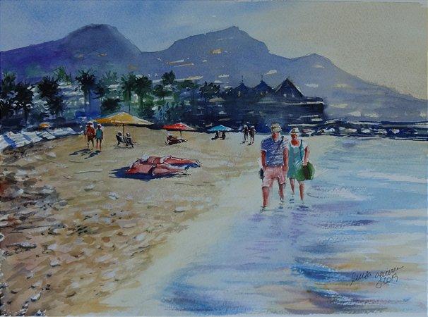 Pintura Original Em Aquarela Casal Paseio Na Praia 35x25cm - Tela/Quadro Para Decoração Da Sua Casa
