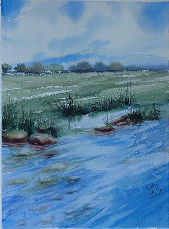 Pintura Original Em Aquarela - Um Certo Lago 37x27 cm  - Tela/Quadro Para Decoração Da Sua Casa