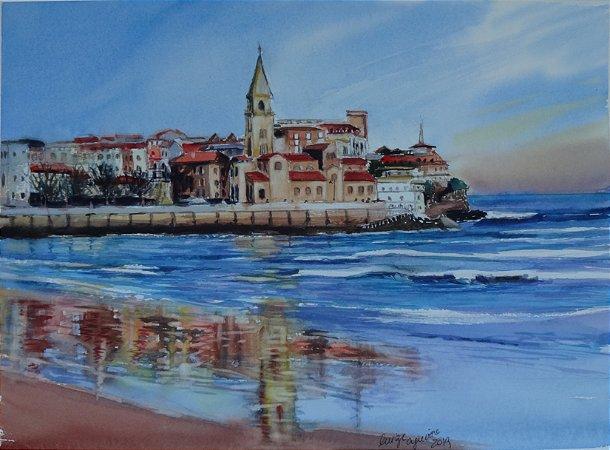 Pintura Original Em Aquarela - Gijon-Costa Espanhola 37x27 cm - Tela/Quadro Para Decoração Da Sua Casa
