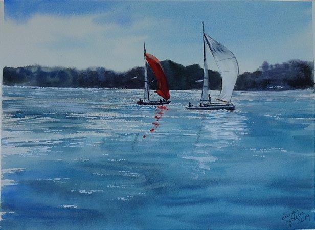 Pintura Original Em Aquarela Vela No Lago Paranoá 37x27cm  - Tela/Quadro Para Decoração Da Sua Casa
