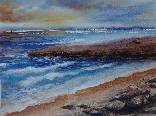 Pintura Original Em Aquarela - Fim De Tarde 37x27 cm - Tela/Quadro Para Decoração Da Sua Casa