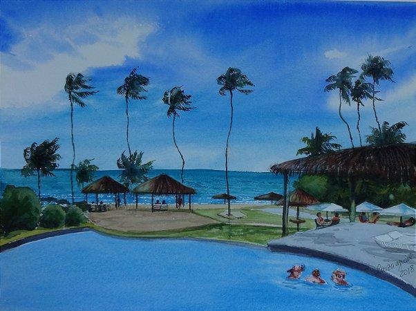 Pintura Original Em Aquarela Resort 37x27cm - Tela/Quadro Para Decoração Da Sua Casa