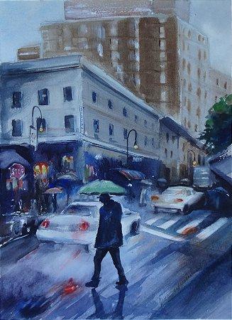 Pintura Original Em Aquarela - Urbano Com Chuva 37x27 cm - Tela/Quadro Para Decoração Da Sua Casa