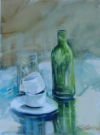 Pintura Original Em Aquarela Vidro e Louça 37x27cm - Tela/Quadro Para Decoração Da Sua Casa