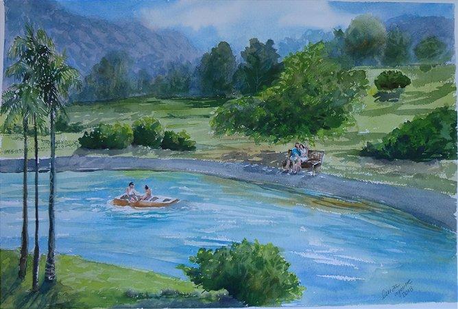 Pintura Original Em Aquarela Dia de Namorar 54x35cm - Tela/Quadro Para Decoração Da Sua Casa