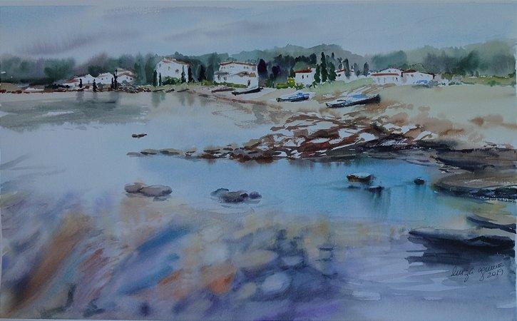 Pintura Original Em Aquarela Alguma Marina 55x34cm - Tela/Quadro Para Decoração Da Sua Casa