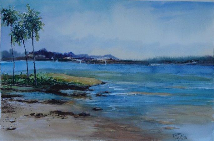 Pintura Original Em Aquarela - Calma No Lago 55x36 cm - Tela/Quadro Para Decoração Da Sua Casa