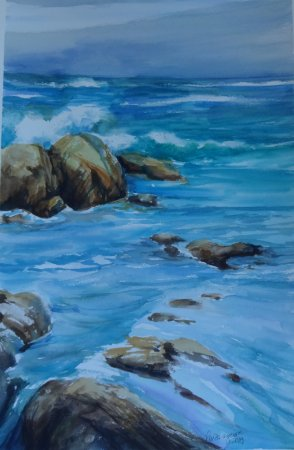 Pintura Original Em Aquarela Mais uma de Mar Com Rochas 55x36cm - Tela/Quadro Para Decoração Da Sua Casa