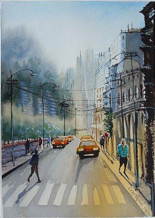 Pintura Original Em Aquarela Luzes Da Tarde 28x20cm - Tela/Quadro Para Decoração Da Sua Casa