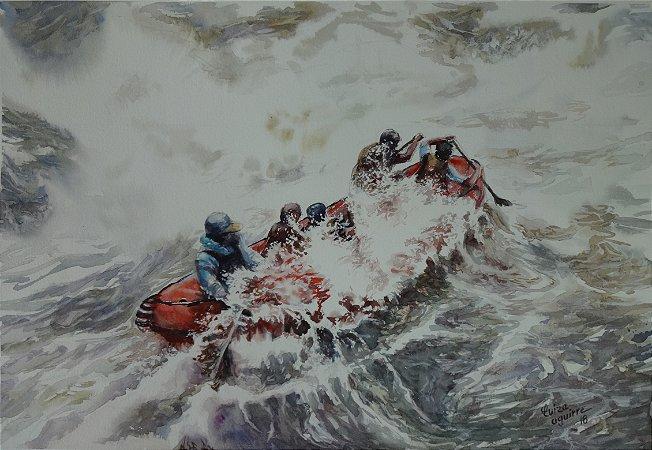 Pintura Original Em Aquarela - Esporte Radical 47x32 cm - Tela/Quadro Para Decoração Da Sua Casa