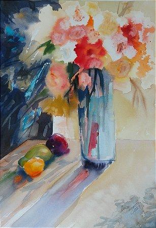 Pintura Original Em Aquarela Composição Com Flores e Frutas 48x33cm - Tela/Quadro Para Decoração Da Sua Casa