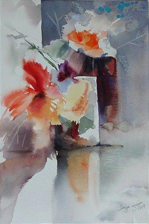 Pintura Original Em Aquarela - Composição Com Flores 46x21 cm - Tela/Quadro Para Decoração Da Sua Casa