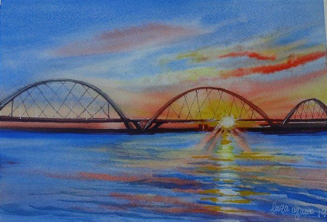 Pintura Original Em Aquarela Ponte JK Por Do Sol 27x19cm - Tela/Quadro Para Decoração Da Sua Casa