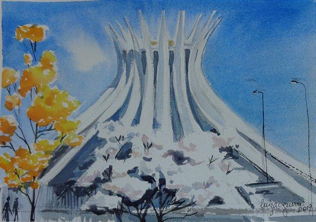 Pintura Original Em Aquarela - Catedral Com Ipê Branco 27x19 cm - Tela/Quadro Para Decoração Da Sua Casa