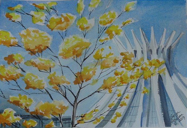 Pintura Original Em Aquarela - Catedral com Ipê Amarelo 27x19 cm - Tela/Quadro Para Decoração Da Sua Casa