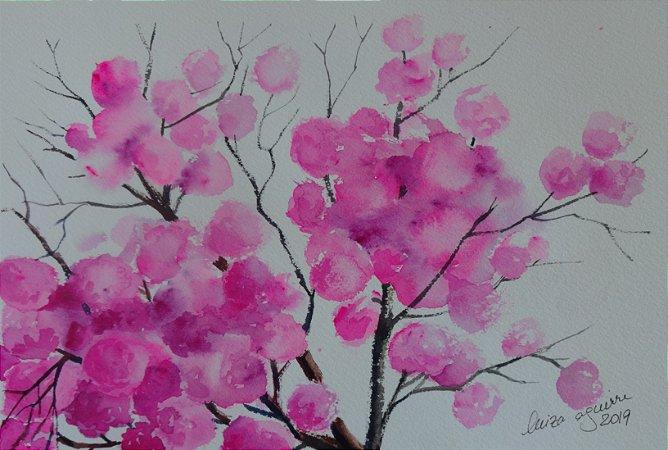 Pintura Original Em Aquarela - Ipê Roxo De Bola 27x19 cm - Tela/Quadro Para Decoração Da Sua Casa
