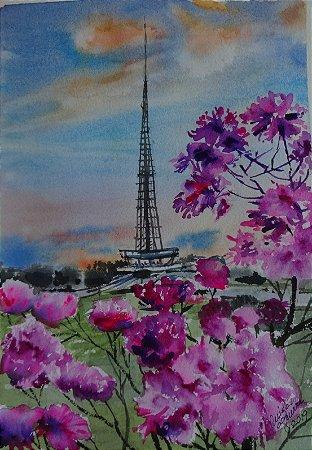 Pintura Original Em Aquarela Ipê Roxo Com Torre De TV 27x19cm - Tela/Quadro Para Decoração Da Sua Casa