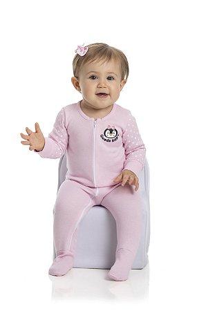 Macacão bebê feminino suedine manga longa com pé