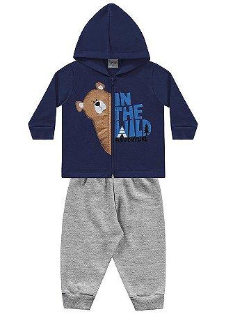Conjunto moletom bebê masculino urso