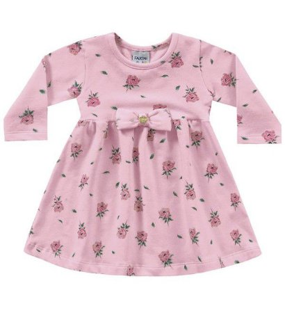 Vestido bebê manga longa rosa