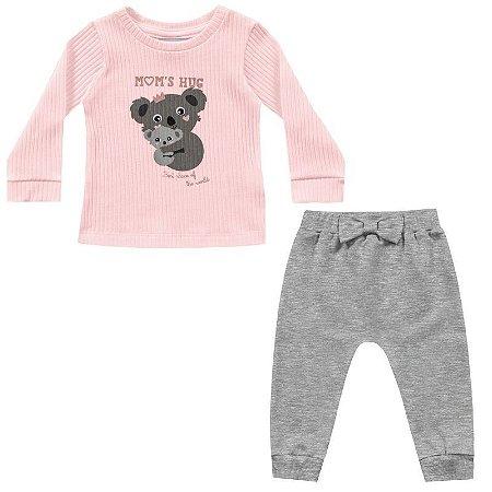 Conjunto bebê feminino blusa e calça coala