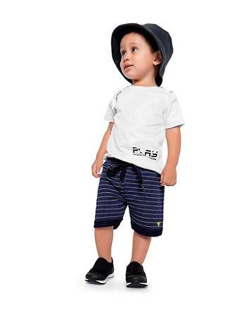 Conjunto bebê masculino verão camiseta e bermuda