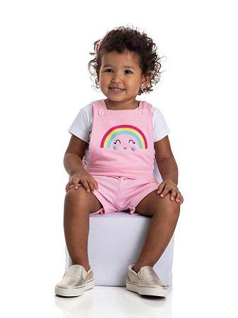 Jardineira bebê menina rosa arco-íris