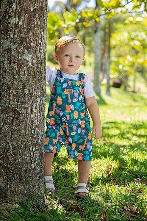 Jardineira bebê safari
