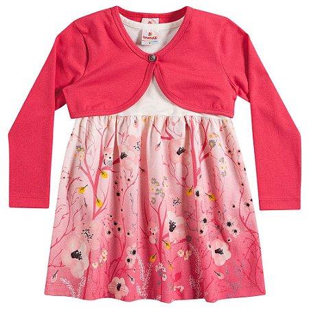 Vestido com bolero floral/rosa