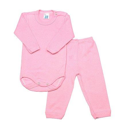 Conjunto básico ML body e calça rosa