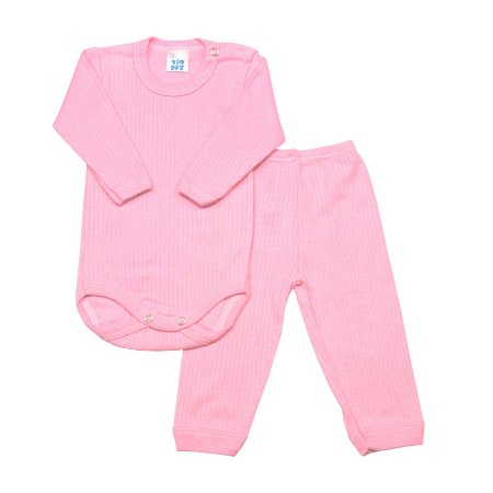 Conjunto body bebê manga longa rosa