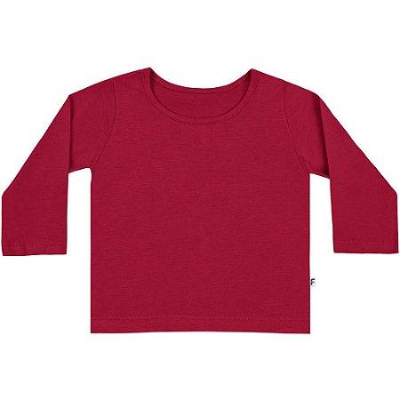 Camiseta bebê básica manga longa vermelha