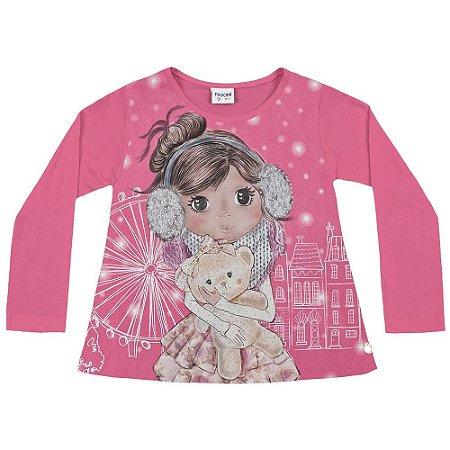 Blusa ML boneca rosa