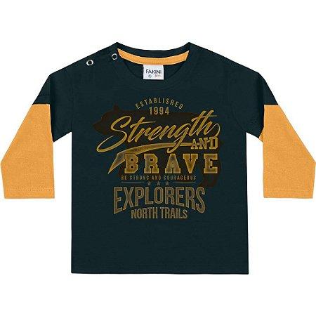 Camiseta ML urso petróleo/amarelo