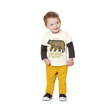 Camiseta ML urso creme/marrom