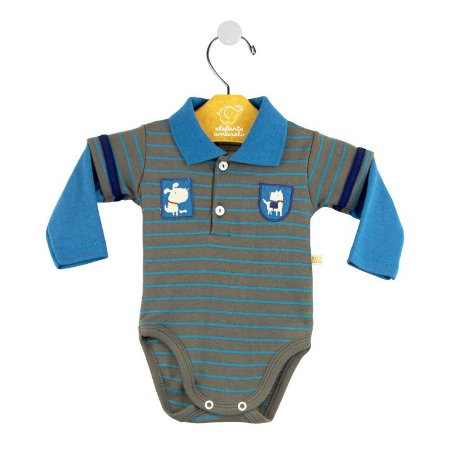 Body ML cachorrinho chumbo/azul