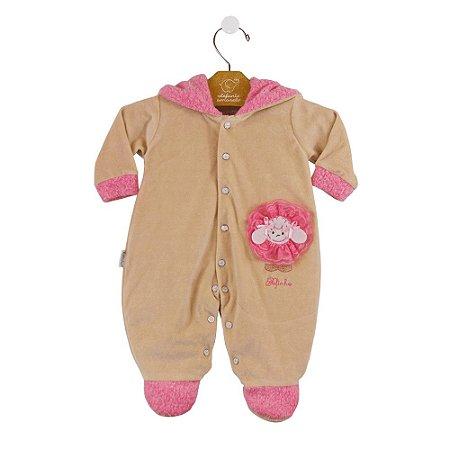 Macacão ML ovelhinha bege/rosa
