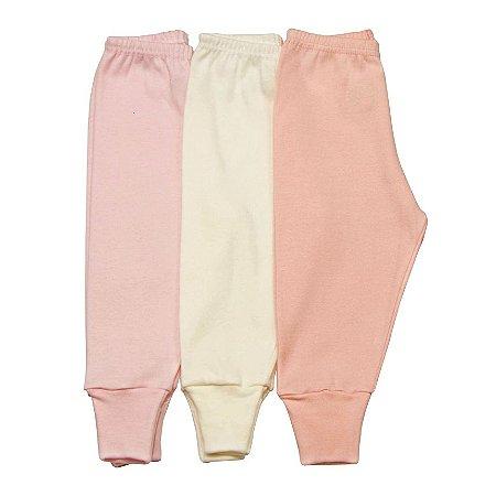 Kit 3 calças pé reversível básica rosa