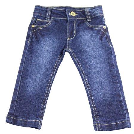 Calça bebê jeans com cinto marrom