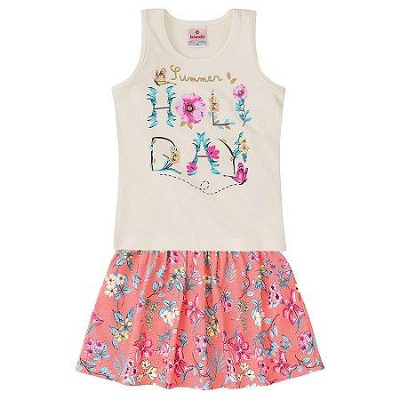 Conjunto infantil saia-shorts holiday Brandili