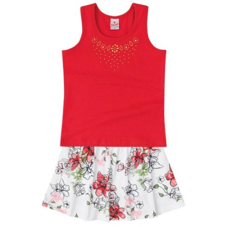 Conjunto Infantil Saia-shorts Floral Brandili