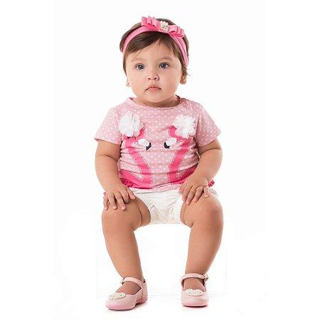 Camiseta bebê flamingo poá