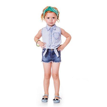 Camisa infantil jeans coração