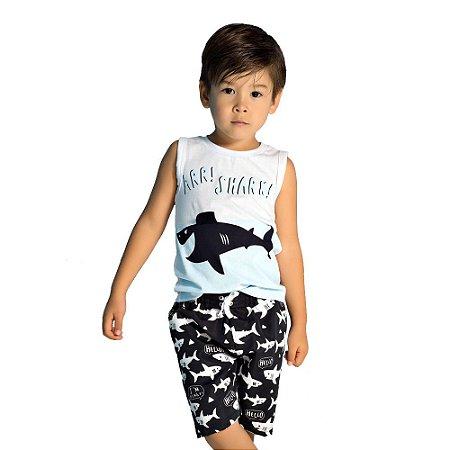 Conjunto infantil tubarão azul